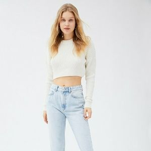 NWT UO BIG SUR RIBBED PULLOVER CROP SWEATER